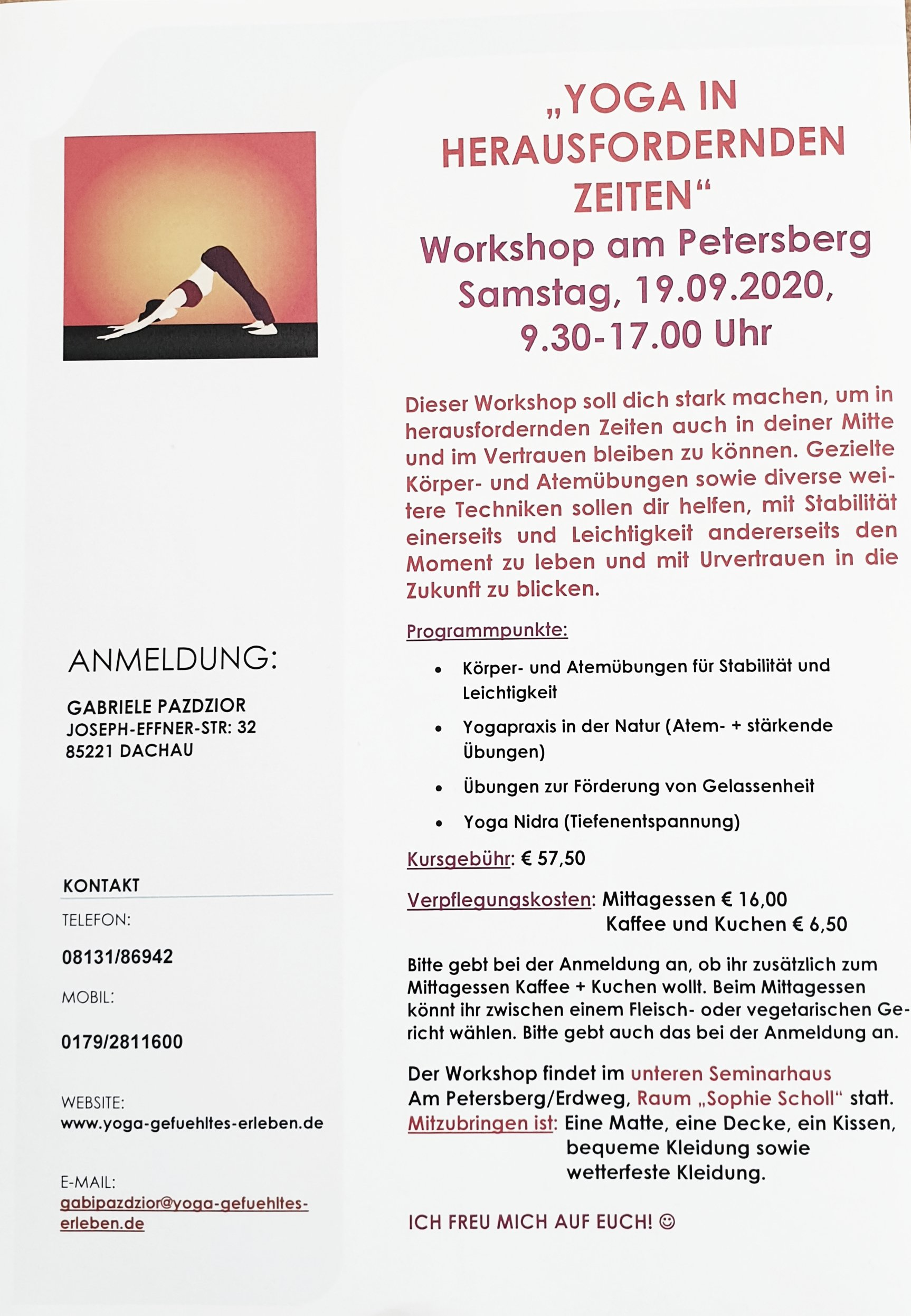 Workshop Yoga in herausfordernden Zeiten